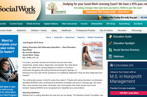 Social Work – Eating Disorders Not Otherwise Specified